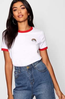 boohoo Rainbow Ringer T-Shirt