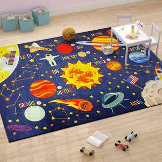 Zoomie Kids Weranna Outer Space Safari Road Map Educational Learning Blue Indoor/Outdoor Area Rug Rug