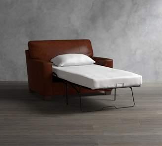 Pottery Barn Buchanan Square Arm Leather Twin Sleeper Sofa