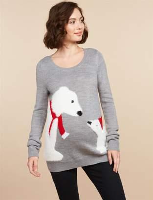 Motherhood Maternity Polar Bear Christmas Maternity Sweater