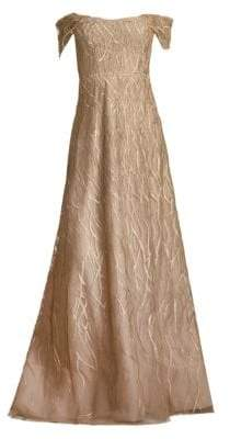 Rene Ruiz Embroidered Off-The-Shoulder Gown