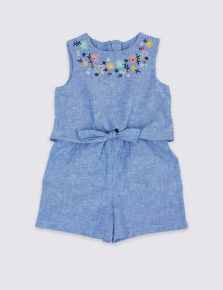 Marks and Spencer Cotton Rich Chambray Playsuit (3 Months - 7 Years)