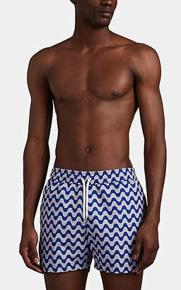 Frescobol Carioca Men's Copacabana Wave-Print Swim Trunks - Blue