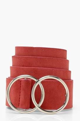 boohoo Suedette Double Ring Boyfriend Belt