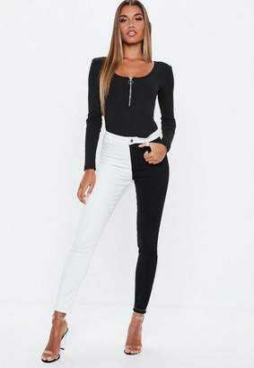 Missguided Black Monochrome Colour Block Skinny Jeans, White