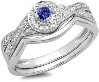 DazzlingRock Collection 10K White Gold Round Tanzanite & White Diamond Ladies Bridal Halo Engagement Ring Set (Size 5.5)