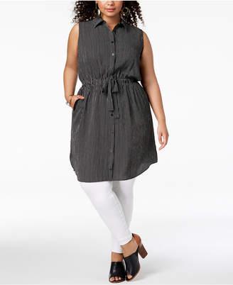 Monteau Trendy Plus Size Striped Shirtdress