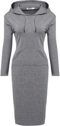 Meaneor Womans Long Sleeve Slim Fit Hoodie Dress W/ Kangaroo Pocket