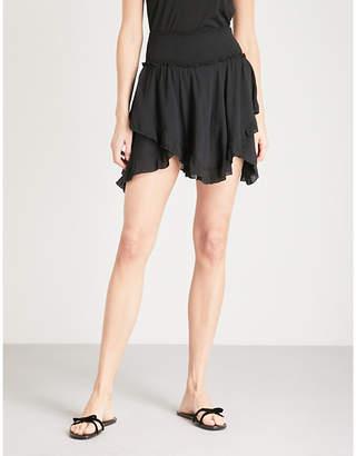 Free People Tiered asymmetric jersey mini skirt