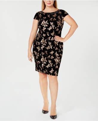 Calvin Klein Plus Size Velvet Cowl-Back Sheath Dress