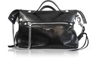 Balmain Black Wrinkled Leather Mini Satchel Bag