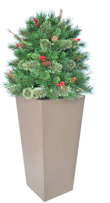 """clear National Tree Company 48"""" Glistening Pine Porch Bush with Pine Cones, Red Berries, Twigs & 70 Lights"""