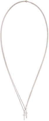 Dsquared2 Silver Double Cross Necklace $130 thestylecure.com