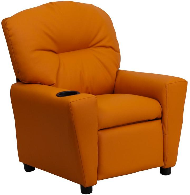 Flash Furniture Contemporary Orange Vinyl Kids Recliner with Cup Holder