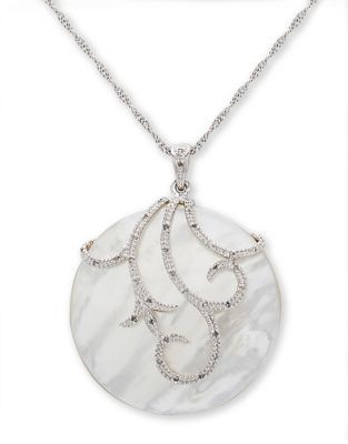 Lord & Taylor Sterling Silver Mother of Pearl and Diamond Necklace, 0.1 CT. T.W.