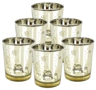 "Just Artifacts Christmas Metallic Votive Candle Holder 2.75"" H - Gold Winter Wonderland (Set of 6) - Glass Votive Candle Holders for Weddings and Home Decor"