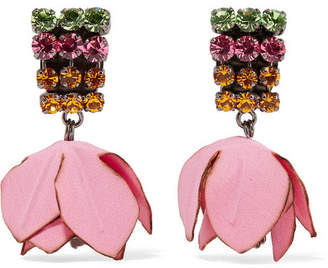 Marni Gunmetal-tone, Cotton And Crystal Clip Earrings - Pink