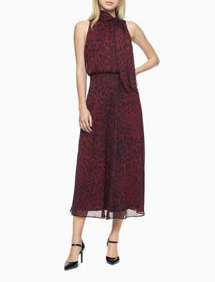 Calvin Klein Animal Print Tie Neck Midi Dress