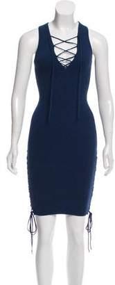 Ronny Kobo Lace-Up Knit Mini Dress