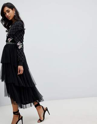 Frock and Frill embroidered tulle midi skirt in black