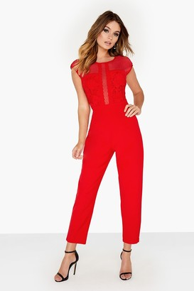 Girls On Film Red Print Jumpsuit