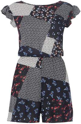 Dorothy Perkins Womens **Tall Blue Patchwork Tie Playsuit