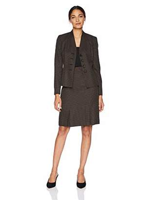 Le Suit Women's 4 Button Stand Collar Novelty Skirt Suit