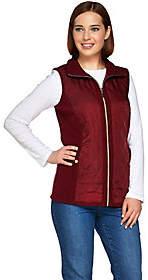 Susan Graver Zip Front Sweater Vest withQuilting Detail
