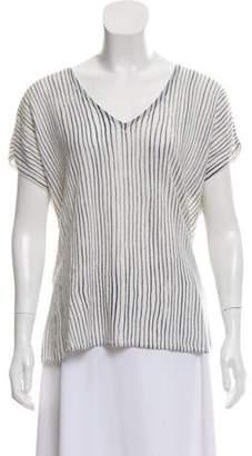 Closed Stripe Short Sleeve Top
