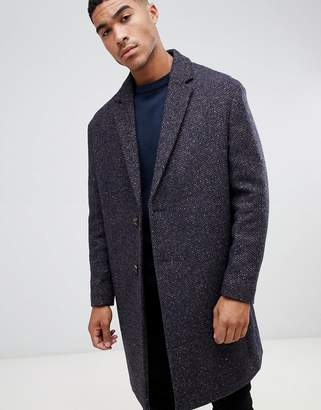Asos DESIGN wool mix overcoat in herringbone in brown