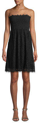 Velvet by Graham & Spencer Strapless Lace Smocked Mini Dress
