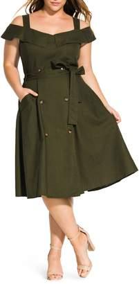 City Chic Commando Linen Blend Cold Shoulder Dress