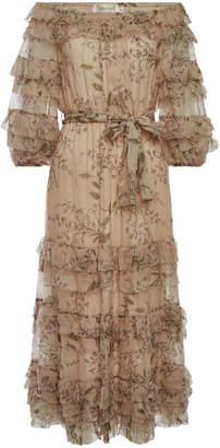Zimmermann Unbridled Printed Silk Chiffon Ruffle Dress