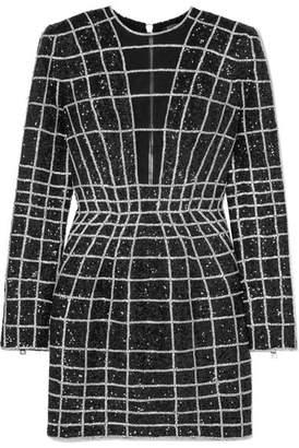 Balmain Crystal-embellished Stretch-mesh Mini Dress - Black
