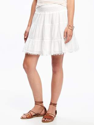 Pom-Pom-Trim Gauze Circle Skirt for Women $26.94 thestylecure.com