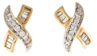 14K Diamond X Earrings