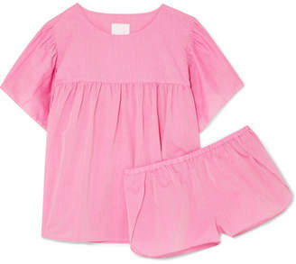 Three J NYC Anna Ruffled Cotton Pajama Set - Pink