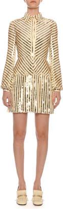 Valentino Long-Sleeve Paillette-Ribbon Embroidered Body-Con Mini Dress
