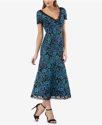JS Collections Embroidered Lace-Trim Midi Dress
