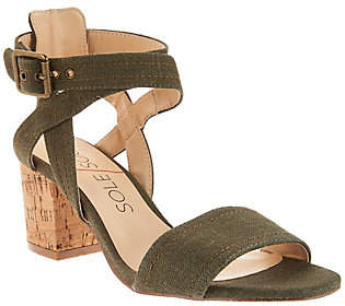 Sole Society Ankle Strap Block Heel Sandals -Zahara