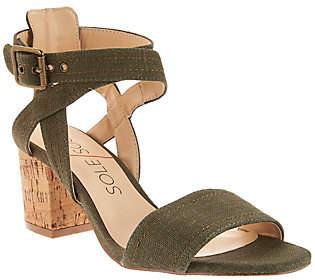 Sole Society Ankle Strap Block Heel Sandals -Zahara