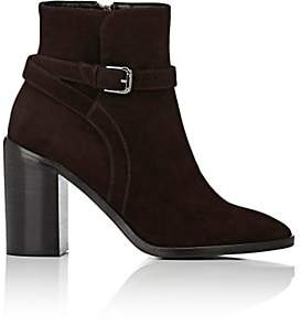 Barneys New York WOMEN'S WRAPAROUND-STRAP SUEDE ANKLE BOOTS - DK. BROWN SIZE 9.5