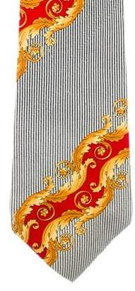 Gianni Versace Striped Ornate Silk Tie