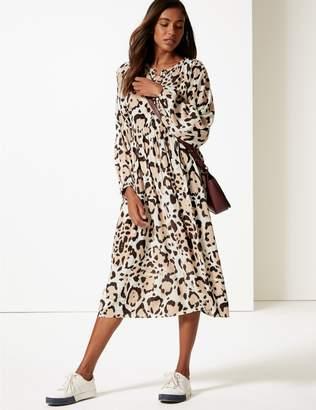 Marks and Spencer Animal Print Long Sleeve Tea Midi Dress