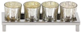 DecMode Decmode Glam 3 x 10 inch stainless steel and glass votive holder, Silver