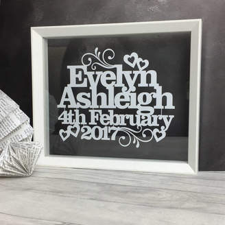 Kyleigh's Papercuts Personalised Wedding Or Anniversary Papercut