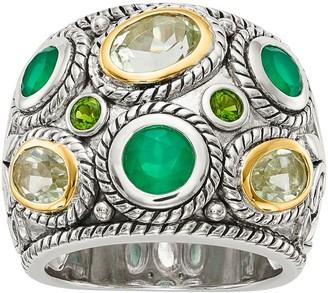 Sterling & 14K Multi Gemstone Wide Ring