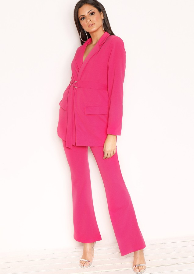 Missyempire Andrea Hot Pink High Waist Flare Trousers