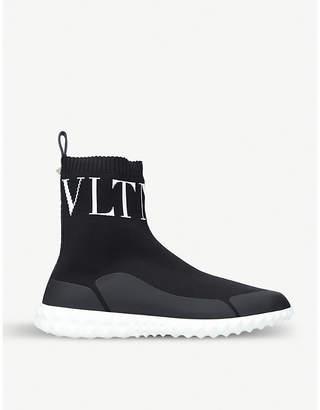Valentino Logo-detail stretch-knit trainers