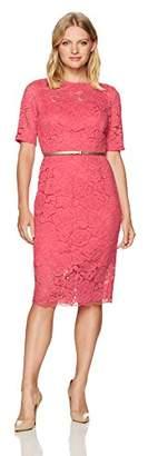 Ellen Tracy Women's 3/4 Sleeved Lace Dress with Self Belt in Petite